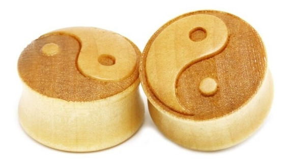 Alargador Em Madeira Yin-yang 8mm, 10mm, 12mm E 14mm-1 Peça