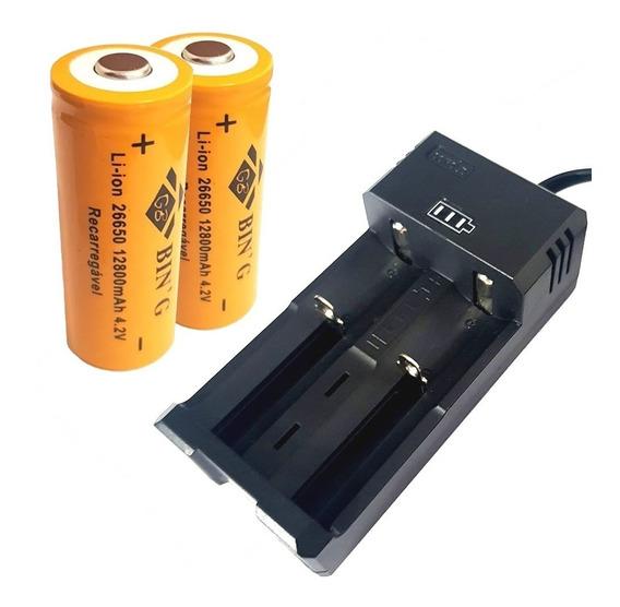 Carregador Duplo + 2 Bateria 26650 12800mah Lanterna T9 X900