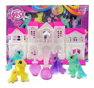 Pony Fashion House My Happy Horse X4 Ponys Unicornio + Casa