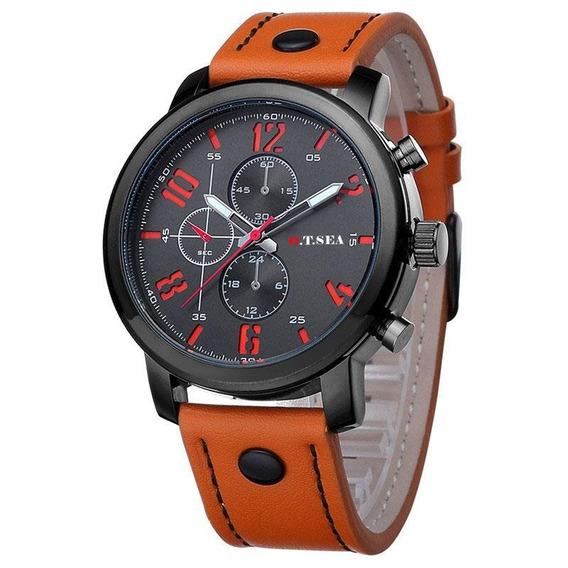 Relógio Masculino Original Pulseira Couro Promoção Barato