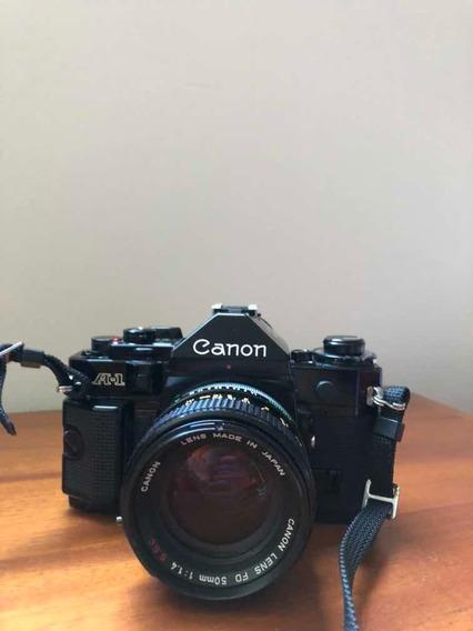 Canon A1 Com Lente Fd 50mm 1.4 Ssc + Alça Canon + Flash
