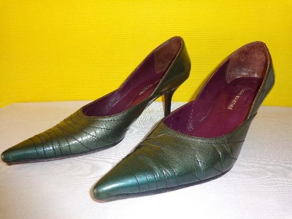 Sofi Martire Stilletto Zapato Color Verde Cuero Nro.38