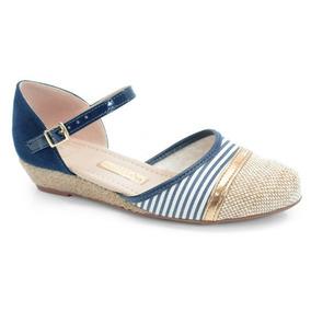 Sapato Anabela Molekinha Marinho Bege Ouro - 2165102