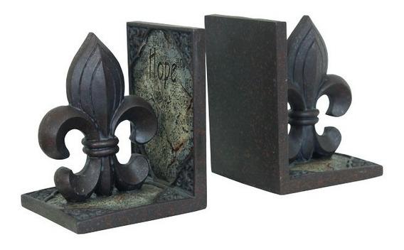 Porta Livros De Resina Flor De Lis Oldway 14x24x11cm
