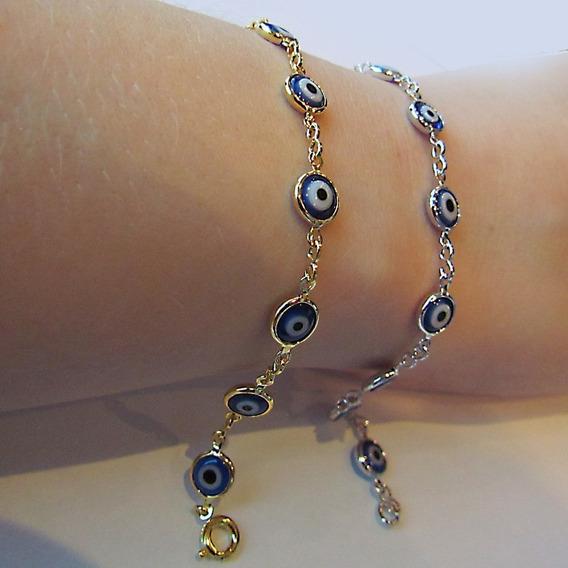Pulseira De Olho Grego Azul Em Banho De Ouro 18k