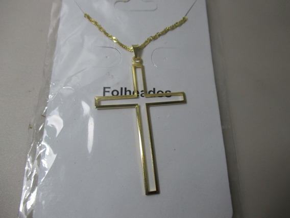 Colar Folheado A Ouro 18k Crucifixo Pingente 5 Cm Por 3,3cm