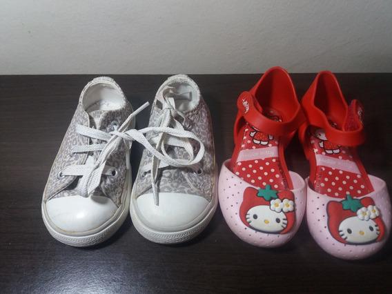 Tenis Infantil All Star N. 18 + Sapatilha Hello Kitty N.19