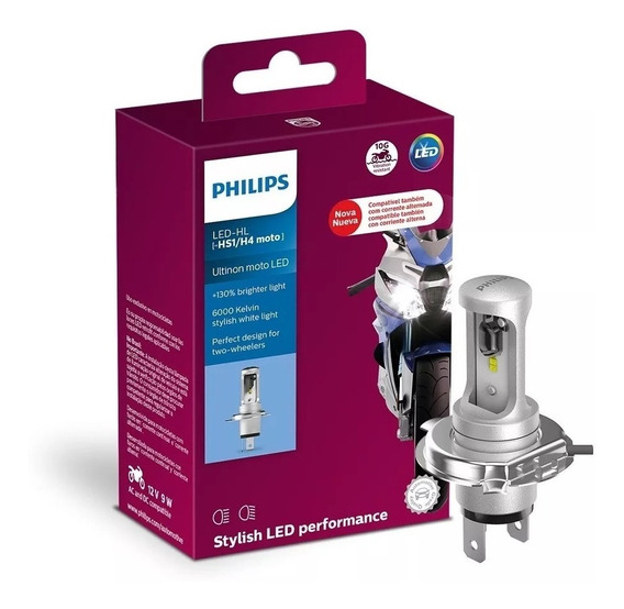 Lampada Farol Led Ultinon H4 Moto Branca Original Philips