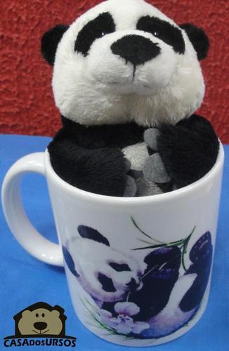 Imagem 1 de 7 de Caneca De Porcelana Com Ursinho Panda 15cm - Enjoy The Day