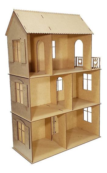 Casa Casinha Boneca Polly Barbie Lol Mdf Cru C/ Moveis R19