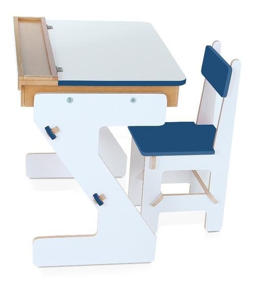 Mesa Didática Infantil Em Forma De Baú Carlu Azul 501510