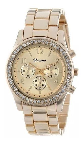 Lindo Relógio Feminino Dourado Com Strass De Luxo Barato