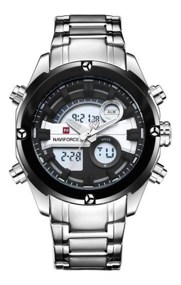 Relógio Masculino Esportivo Militar Naviforce Nf9088/prata
