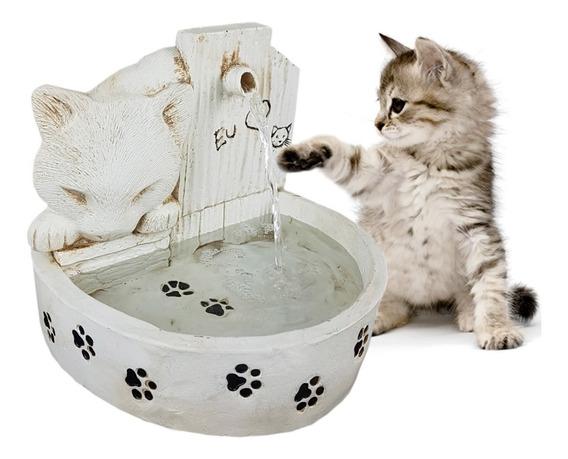 Bebedouro De Água Para Gato Fonte P/ Gato Em Resina Branca