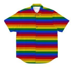 Camisa Com Botão Estampa Arco Íris Bandeira Lgbt Rainbow Gls