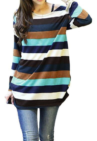 Camiseta Slouchy Coreana Rayas Coloridas