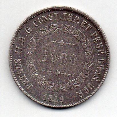 1000 Reis 1849 Data Rara
