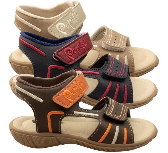 2 Prs Papete Infantil Masculina Sandalia Menino Velcro Moda