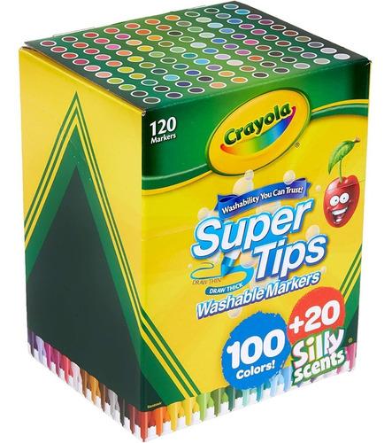 Crayola Supertips 120 Plumones Lavables - Niños Y Jóvenes