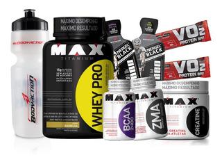 Combo Kit De Suplementos Whey Protein Concentrado 1kg + Bcaa + Creatina + Zma Max