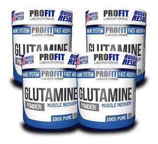 4x Aminoácidos Glutamina 100% Pura - Total 1,2kg - Profit