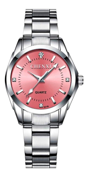 Relógio Feminino Leve Pequeno Prata Aço Inox Fundo Rosa