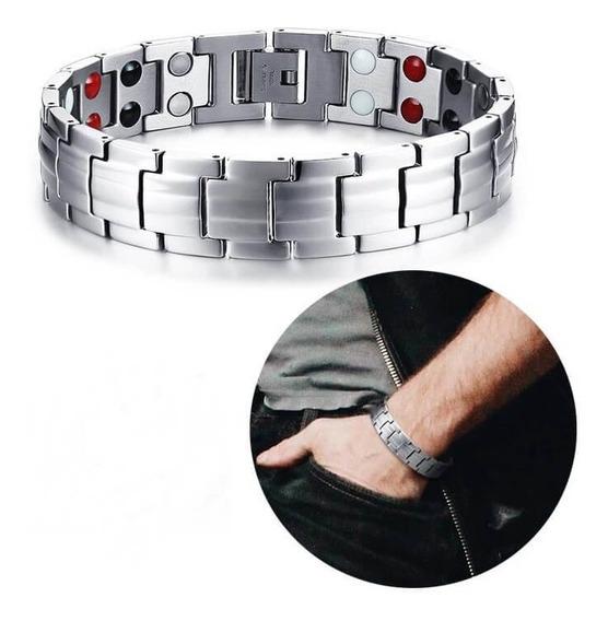 Pulseira Masculina Bracelete Magnético Banhado A Ouro 18k
