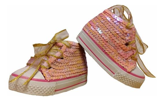 Zapatillas Botitas Lentejuelas Bautismos Cumpleaños 16 Al 21