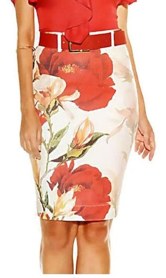 Saia Titanium Jeans Estampa Floral C/ Cinto Ttn24251 Primavera Verão 2020