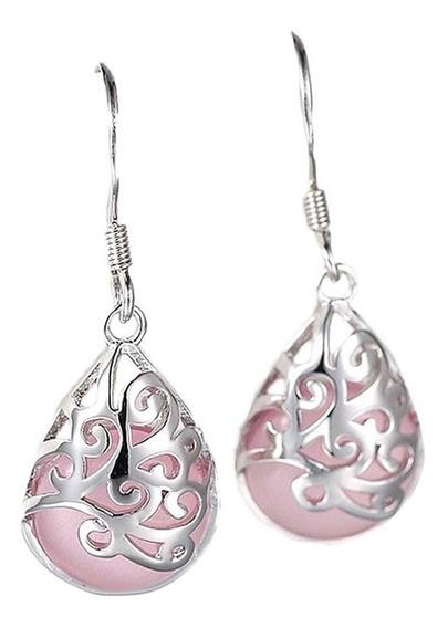 Brinco Feminino Prata 925 Pedra Opala Rosa Branca Delicada C43