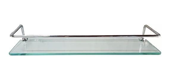 Porta Shampoo Reto 40 X 10cm Com Grade Em Aço Em Vidro 8mm