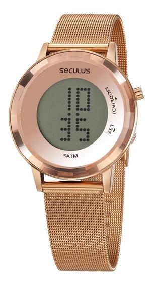 Relógio Seculus Feminino Digital Rosé Garantia 2 Anos