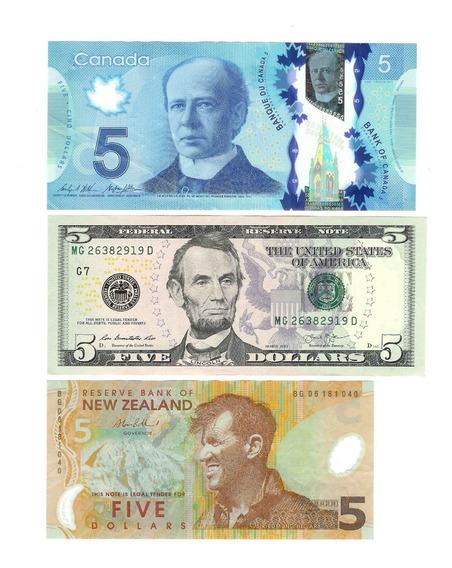 3 Cedullas Diferentes De 5 Dolares-canada/eua/nova Zelandia