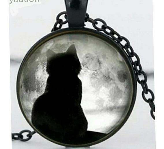 Colar Gato Preto Sombra Lua Noite Corrente Preta Unissex