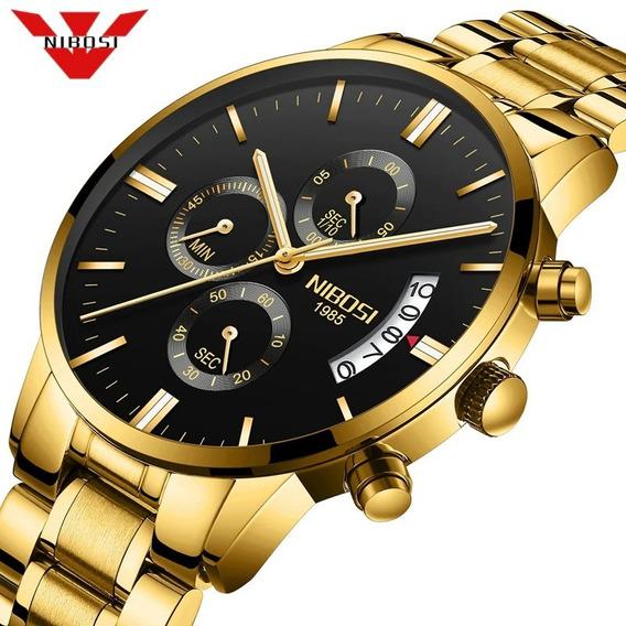 Relógio Masculino Dourado Nibosi-1985 Anti-risco Original