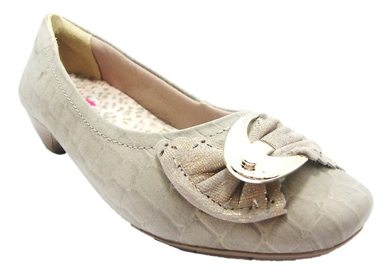 Sapato Feminino Peep Toe Confortflex 1286403 Croco-dicastros