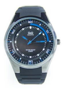 Reloj Hombre Qyq Citizen Azul Q985 Sumergible 50 Mts Silicona Azul Garantia 1 Año