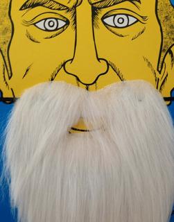 Máscara Barba E Bigode Postiço Branco Cosplay Fake Carnaval