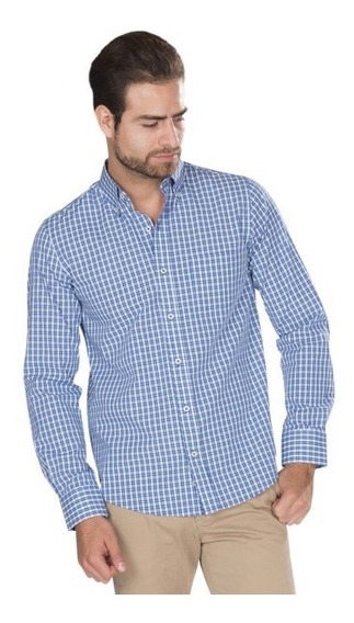 Camisas Hombre Regular Fit Casuales Manga Larga Algodon