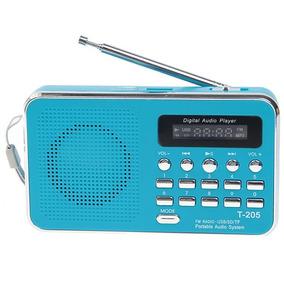 Rádio Receptor Luvin T-205 Fm Azul Suporte Cartão Música Mp3