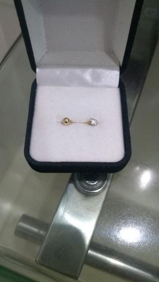 Piercing De Umbigo, Ouro 18k Com Zircônia De Coração.