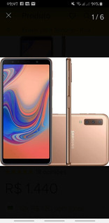 Celular Samsung A7 2018 4g 64 G Semi Novo Top Sem Detalhes 2meses De Uso Com Pelicula Frontal E Traseira