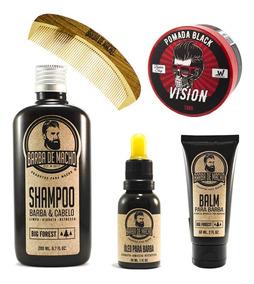 Combo Barba Cabelo 4 Produtos Shamp+óleo+balm+pente+pomada