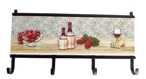 Imagen 1 de 8 de Perchero Artesanal Ceramica Y Hierro. Cocina, Barbacoa
