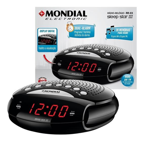 Caixa Rádio Relógio Am/fm Mondial Digital Alarme Despertador