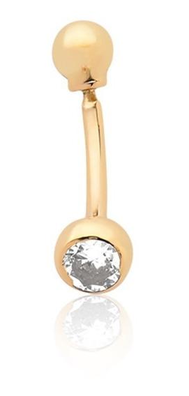 Piercing De Umbigo De Bolinha E Pedrinha Ouro 10k