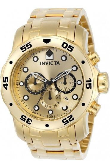 Reloj Invicta Pro Diver - Caja Dorada Con Correa De Acero Inoxidable En Tono Dorado - Modelo 0074