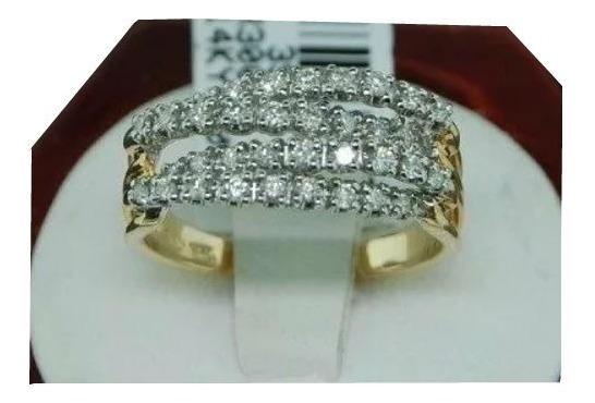 Anel De Ouro 18k/750 Meia Aliança Aparador De Diamantes H07