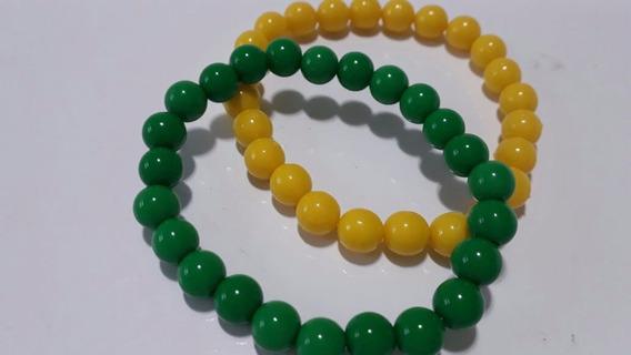 Kit Pulseira Verde E Amarela Copa 2018 Bolinhas