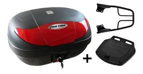 Bau Moto 45 Litros Pro Tork + Bagageiro Maciço Cb250 Twister